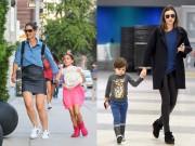 Thời trang - Miranda Kerr, Victoria Beckham giản dị vẫn đẹp bên con