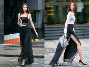 Thời trang - Cô gái ngực phẳng dụ dỗ ánh nhìn nhờ váy xẻ thướt tha