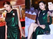 Làng sao - HH Triệu Thị Hà diện váy xẻ sâu đi làm giám khảo