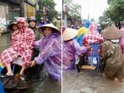 Bà bầu - Ảnh mẹ tươi rói đi đẻ trên đường HN mưa lụt hút nghìn 'like'