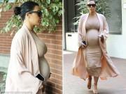 Bà bầu - Kim Kardashian lộ cơ thể mập ú khi mang bầu 6 tháng