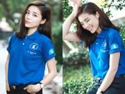 Làng sao - HH Kỳ Duyên giản dị vẫn đẹp rạng rỡ trong màu áo xanh tình nguyện