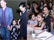 Làng sao - Hồng Nhung đưa 2 con song sinh đi chúc mừng ban nhạc trẻ