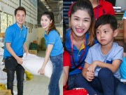 Vợ chồng Đăng Khôi đưa con trai lớn đi thăm trẻ mồ côi