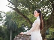 Làng sao - Hoa hậu Biển 2016 Thuỳ Trang mỏng manh với áo dài
