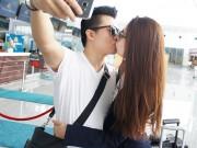 Làng sao - Vợ chồng HH Dương Thuỳ Linh gây ghen tỵ khi hôn nhau ở sân bay