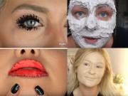 """Làm đẹp -  """" Chết khiếp """"  với trào lưu đắp 100 lớp trang điểm trên mặt"""