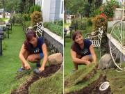 Nhà giàu, Thúy Hạnh vẫn tự tay cắt cỏ, làm vườn