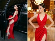 Làng sao - Hoàng Thùy Linh quyến rũ nồng nàn với váy đỏ xẻ sâu