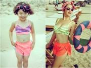 Con gái Thúy Nga sành điệu, dạn dĩ khi đi chơi biển cùng mẹ