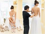 Làng sao - Hà Anh khoe lưng trần và vòng một gợi cảm khi đi thử váy cưới
