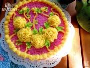 Bếp Eva - Điệu đà với xôi hoa vị lá cẩm đậu xanh vừa ngon vừa đẹp