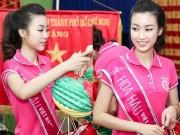 Thời trang - Đi từ thiện, Hoa hậu Đỗ Mỹ Linh trang điểm nhẹ nhàng thật xinh