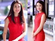 Làng sao - Tân HH Mỹ Linh diện váy gợi cảm về Hà Nội sau 5 ngày đăng quang