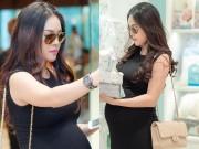 Làng sao - Dương Cẩm Lynh tăng 17kg, khệ nệ bụng bầu đi mua sắm