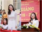 Làng sao - Hoa hậu Bản sắc Việt Thu Ngân đẹp tinh khôi về thăm trường cũ