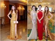Làng sao - Hoa hậu Giáng My đỏ rực, khoe dáng bên Xuân Nguyễn