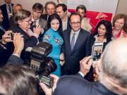 Làng sao - Lý Nhã Kỳ đẹp nền nã gặp gỡ Tổng thống Pháp tại TP.HCM
