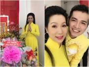 Làng sao - Trịnh Kim Chi duyên dáng áo dài, thành tâm cúng Tổ nghề