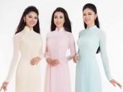 Thời trang - Hoa hậu Đỗ Mỹ Linh, Á hậu Thanh Tú và Thùy Dung đọ sắc với áo dài