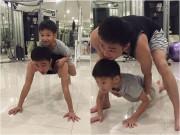 Làng sao - Cường Đô La cõng con trai trên lưng khi tập thể dục