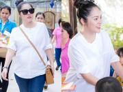 Làng sao - Dương Cẩm Lynh che khéo bụng bầu 8 tháng với áo rộng