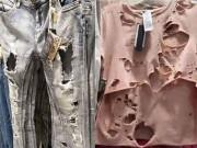 Thời trang - Nổi gai ốc vì loạt quần áo rách te tua ung dung trên kệ