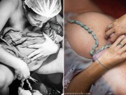 Bà bầu - Ảnh mẹ vừa kéo con ra khỏi bụng đã tự tay cắt dây rốn gây kinh ngạc