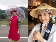 Làng sao - Lan Phương diện áo dài cách điệu, đi dạo trên đất Nhật