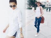 Thời trang - Thời trang đường phố sao Việt: Chỉ cần sơ mi trắng, Hà Tăng vẫn sáng bừng
