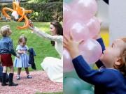 Làm mẹ - Tiểu công chúa Anh mê bóng bay, chơi trống bỏi giống bao bé gái khác
