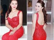 Làng sao - Ngọc Anh mặn mà, gợi cảm với váy đỏ rực