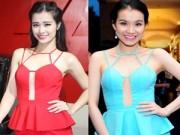 Người mẫu - Đông Nhi mặc lại váy xẻ táo bạo của Thùy Lâm
