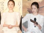 Làng sao - Song Hye Kyo bối rối vì váy ngắn