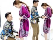 Người mẫu - Lý Quí Khánh quỳ gối chỉnh sửa váy cho Hà Hồ