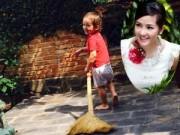 Hậu trường - Con trai Hồng Nhung chăm chỉ quét sân giúp mẹ