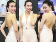 Thời trang Sao - Hoa hậu Thùy Lâm đẹp ngỡ ngàng cùng màu nude