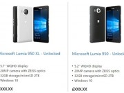 Eva Sành điệu - Microsoft vô tình đăng cấu hình Lumia 950 và Lumia 950 XL trên website