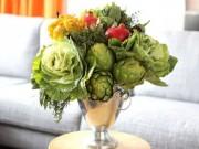 Nhà đẹp - Cắm bình hoa từ bắp cải, đậu đũa đơn giản mà độc đáo