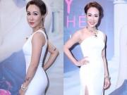 Uyên Linh khoe đường cong với váy ôm sát, xẻ cao