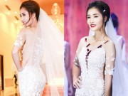 Làng sao - HH Triệu Thị Hà gợi cảm với váy cưới xuyên thấu