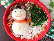 Bếp Eva - Nặn hình người tuyết đẹp mắt từ cơm cho Noel
