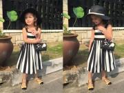 Làng sao - Con gái Hồng Nhung thướt tha như người mẫu nhí