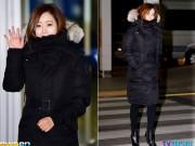 Kim Hee Sun co ro trong gió lạnh tại sân bay