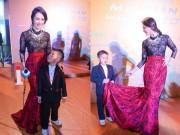 Con trai Thanh Thúy tự tay xách đuôi váy cho mẹ