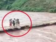 Clip Eva - Clip: Hàng chục em nhỏ suýt mất mạng khi cầu tre bị lũ cuốn trôi