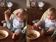 Clip Eva - Video: Nghị lực phi thường của cô bé không tay dùng chân để ăn