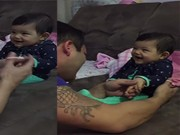 Clip Eva - Vui nhộn với bé gái trêu bố khi được cắt móng tay