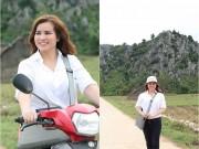 Hoa hậu Kim Hồng đi xe máy trao quà từ thiện cho bà con Quảng Bình