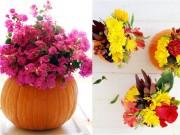 Nhà đẹp - Mẹ đảm biến bí ngô thành lọ hoa độc đáo đón Halloween